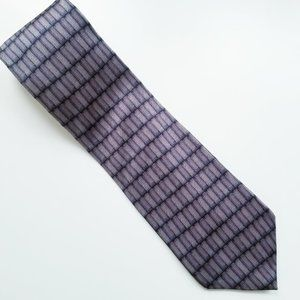 Oscar De La Renta Soft Silk Grey Black Purple Tie
